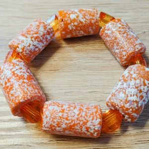 Orange and White marbled stretch bracelet